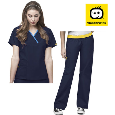 5016-6026 Wonderwink mock wrap medical scrub set - Infectious Clothing Company