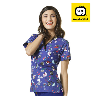 6027 Festive Flight FES Womens Bird Print Scrubs Top - Infectious Clothing Company