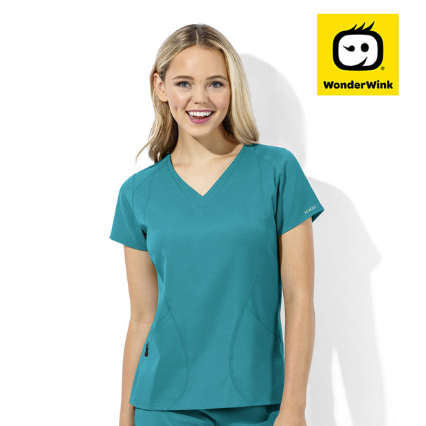 6113 WonderTech Womens V-Neck Cool Stretch Scrubs Top - Infectious Clothing Company