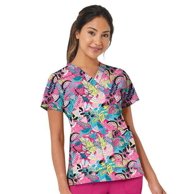 6178 Tropical Getaway Women's Printed V-Neck Top - Infectious Clothing Company
