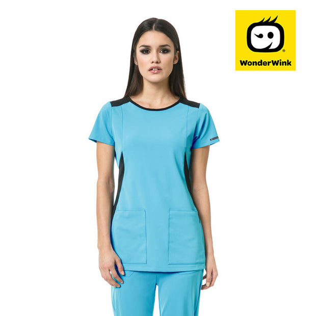 "6212 ""Neo"" wonderwink hp boat neck fashion scrub top - Infectious Clothing Company"