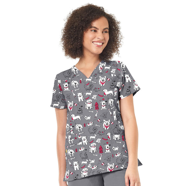 6217 Fido Fighter Dog Print WonderWink Women's Printed Scrub Top - Infectious Clothing Company