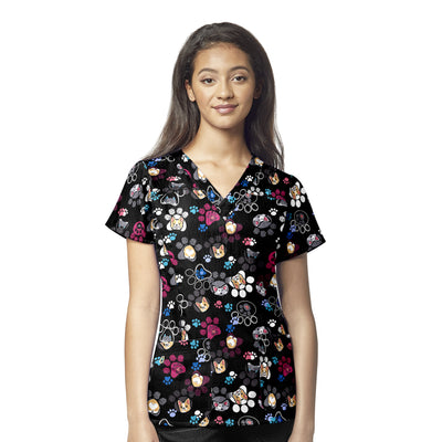 6217 Pawbulous Friends Wonderwink 4-Stretch Printed V-Neck Scrubs Top - Infectious Clothing Company