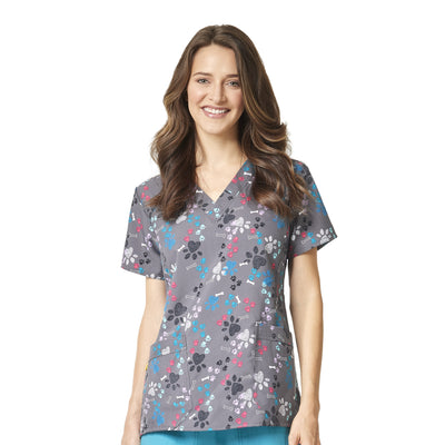 6217 Paws N Hearts Wonderwink 4-Stretch Printed V-Neck Scrubs Top - Infectious Clothing Company