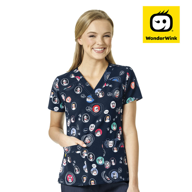 6217 Portrait Pals Dog 4-Stretch Printed V-Neck Scrubs Top - Infectious Clothing Company