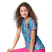 6257 Speckled Rain WonderWink Women's Stretch Print Scrub Top