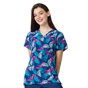 6257 WonderWink Tropical Beauty Print Scrub Top