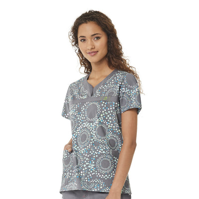 6278 Halo Sky Women's Curved Neck Print Top
