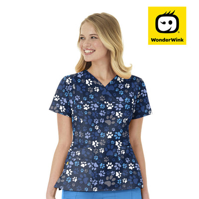 6417 Doggy Loving Womens 4-Stretch Print Scrubs Top - Infectious Clothing Company