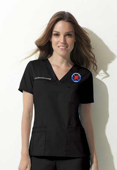 817455 SCGH Emergency Dickies Women's Gen Flex V-neck Scrub Top - Infectious Clothing Company