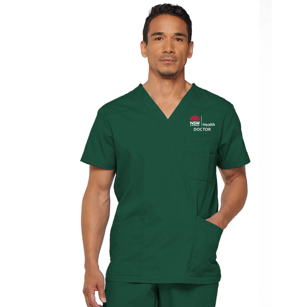 81906 NSW Health Doctor Dickies EDS Signature Men's V-neck Utility Scrub Top - Infectious Clothing Company