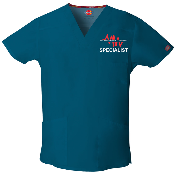 81906 Westmead Emergency Specialist Dickies EDS Signature Men's V-neck Utility Scrub Top - Infectious Clothing Company