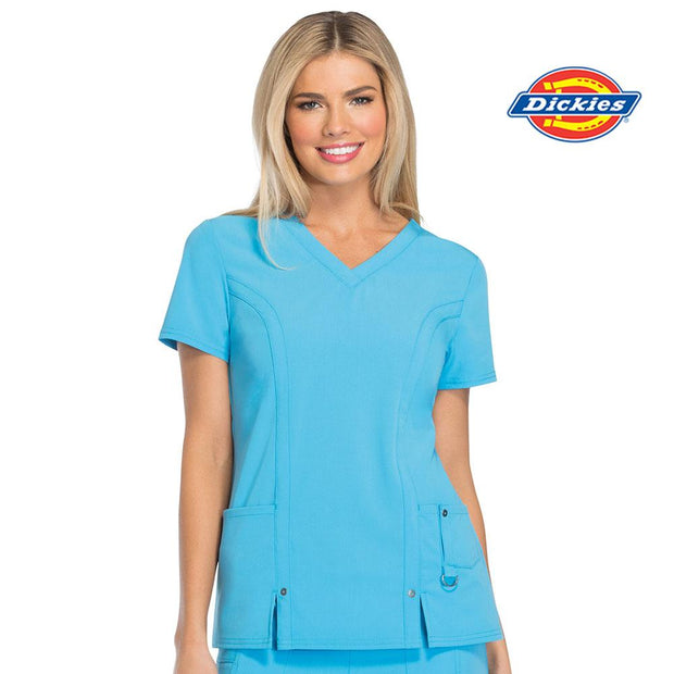 82851 Albury Wodonga Health Dickies Xtreme Stretch Womens V-Neck Scrubs Top - Infectious Clothing Company