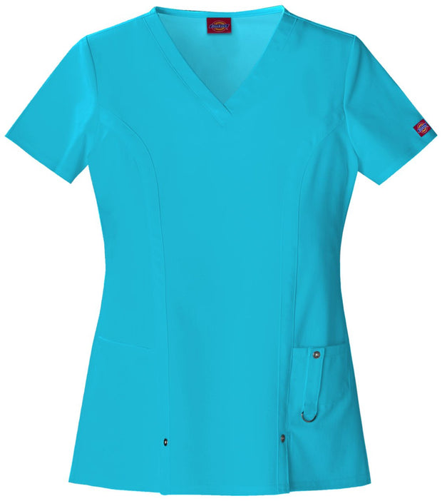 82851 Dickies Xtreme Stretch Womens V-Neck Scrub Top - Infectious Clothing Company