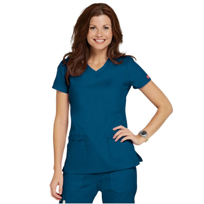 85906 Dickies EDS Women's Jr Fit V-Neck Scrubs Top - Infectious Clothing Company