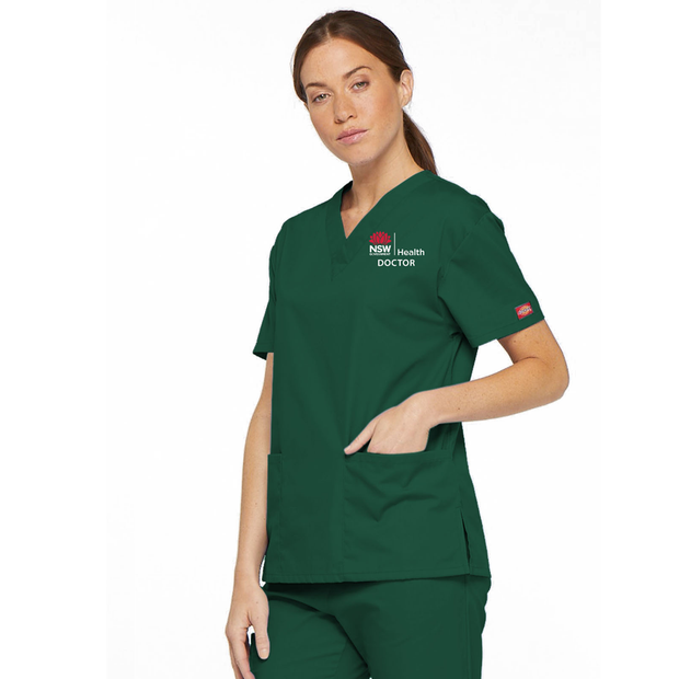 86706 NSW Health Doctor Dickies EDS Signature Classic Womens V-Neck Scrub Top