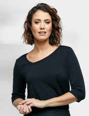6802Q89 Corporate Reflections Aries Asymmetric Neckline Top
