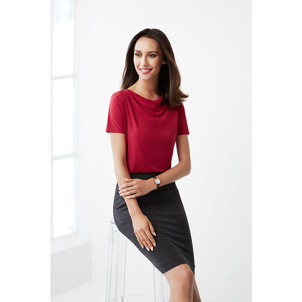 K625LS Biz Collection Ladies Ava Drape Knit Top - Infectious Clothing Company
