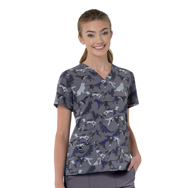 C12114 Carhartt Painterly Hound Women's Printed V-Neck Top