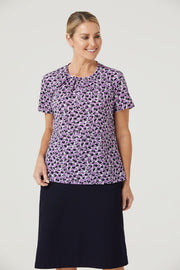 CATUFA NNT Women's Petal Print Antibacterial Short Sleeve Top