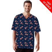 CS046MS Biz Care Men's Navy Reindeer Christmas Print Top