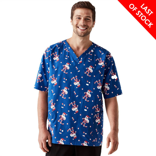 CS046MS Biz Care Men's Blue Santa Christmas Print Top