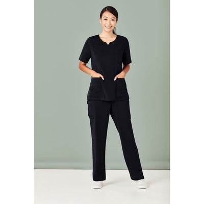 CST942LS Biz Care Womens Tailored Fit Round Neck Scrub Top - Infectious Clothing Company