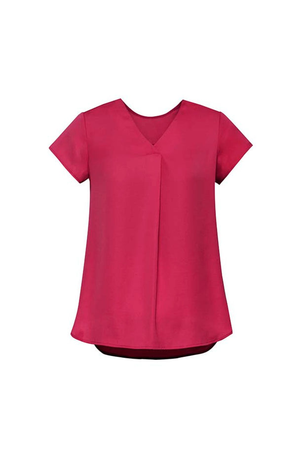 RB967LS Biz Corporates Womens Kayla V-neck Pleat Blouse