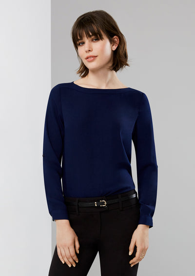 S828LL Biz Collection Womens Madison Boatneck Blouse