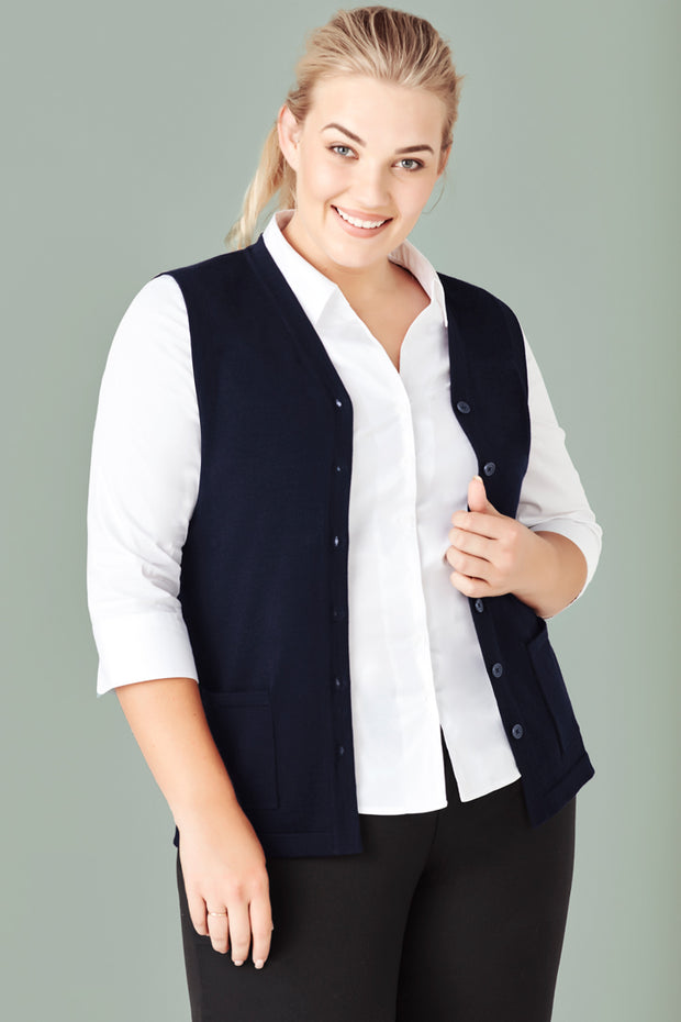 Biz Care CK961LV Womens Button Front Knit Vest - Infectious Clothing Company