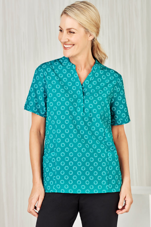 CS950LS Biz Care Womens Easy Stretch Daisy Print Tunic - Infectious Clothing Company