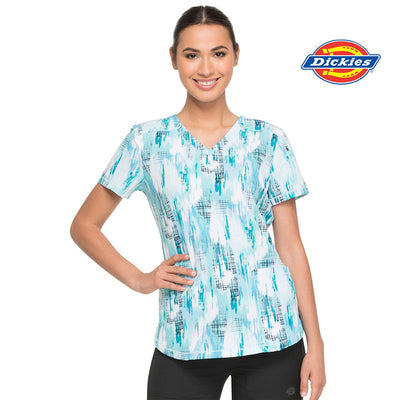 DK731 Dickies Women's Washed Up Tropical Oasis Print Scrub Top