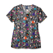 Z12202 Costume Party Women's Print Scrub Top