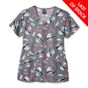 Z12202 Friendly Bandit Women's V-Neck Animal Print Scrub Top