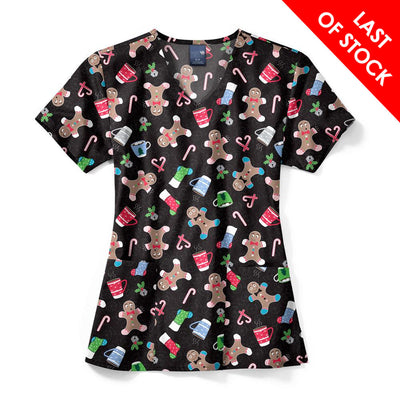 Z12202 Oh Snap Women's V-Neck Christmas Print Scrub Top