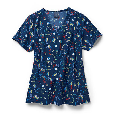 Z12213 Forever Friends Elephant Print Scrub Top