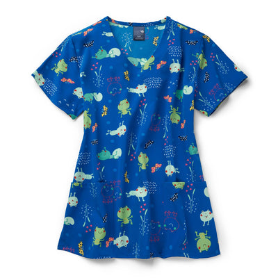 Z12213 Frog Heaven Printed Scrub Top