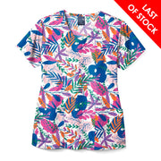 Z12213 Fall In Love Women's Print Scrub Top