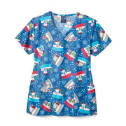 Z12213 Snow Globe-Trotting Women's V-Neck Christmas Print Scrub Top
