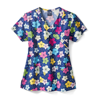 Z14202 Floral Night Sky Women's Print Scrub Top - Infectious Clothing Company