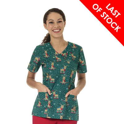 Z14202 Holly Jolly Christmas Print Nurse Scrub Printed Top