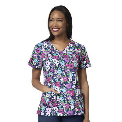 Z14202 Midsummers Night Zoe Chloe Women's Printed Scrub Top - Infectious Clothing Company