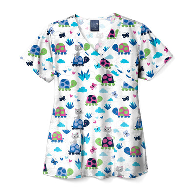Z14202 Turtley Friends Animal Print Scrub Top