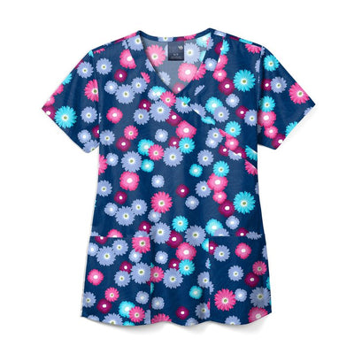 Z14213 Blooming Beauties Women's Print Scrub Top