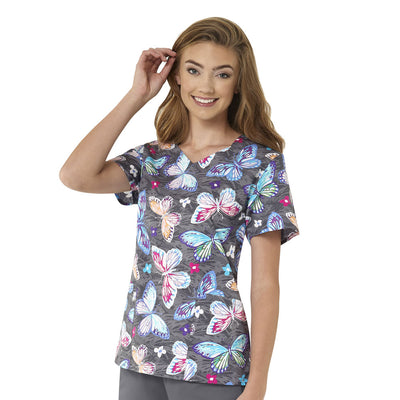 Z15202 Summer Breeze Zoe Chloe Women's Printed Scrub Top - Infectious Clothing Company