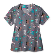 Z15213 Puppy Power Women's Print Scrub Top