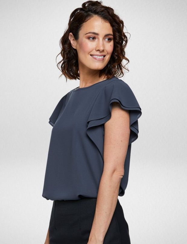 6100F70 Corporate Reflections Amity Double Flutter Sleeve Top