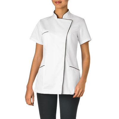 Giblor's Tati Womens Short Sleeved Press Close Tunic With Contrast Trim
