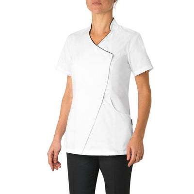 Giblor's Sion Womens Trimmed Short Sleeve Press Button Slim Fit Tunic