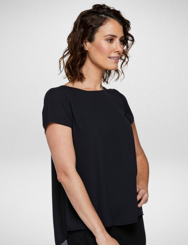 6051S81 Corporate Reflections Harmony Asymmetric Back Short Sleeve Blouse